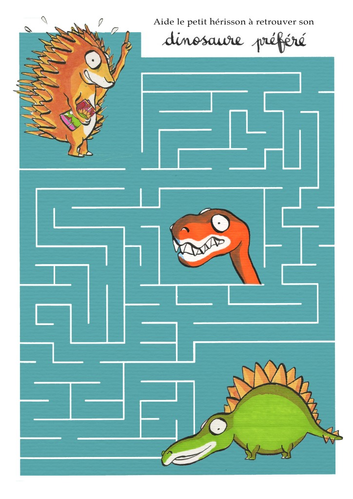 Aide le petit hérisson à retrouver son dinosaure préféré !